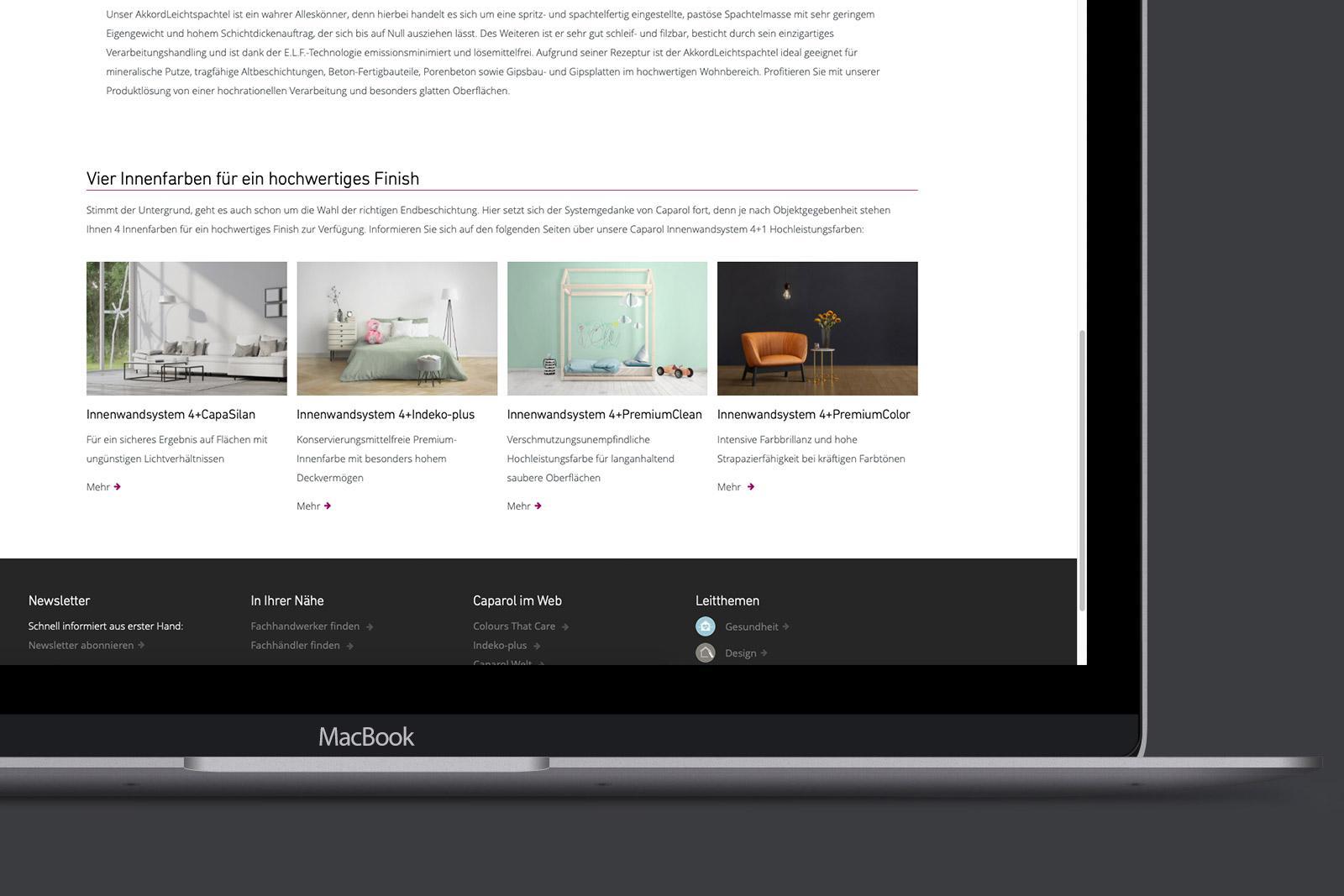 Caparol Innenwandsystem 4+1 – Website Motive