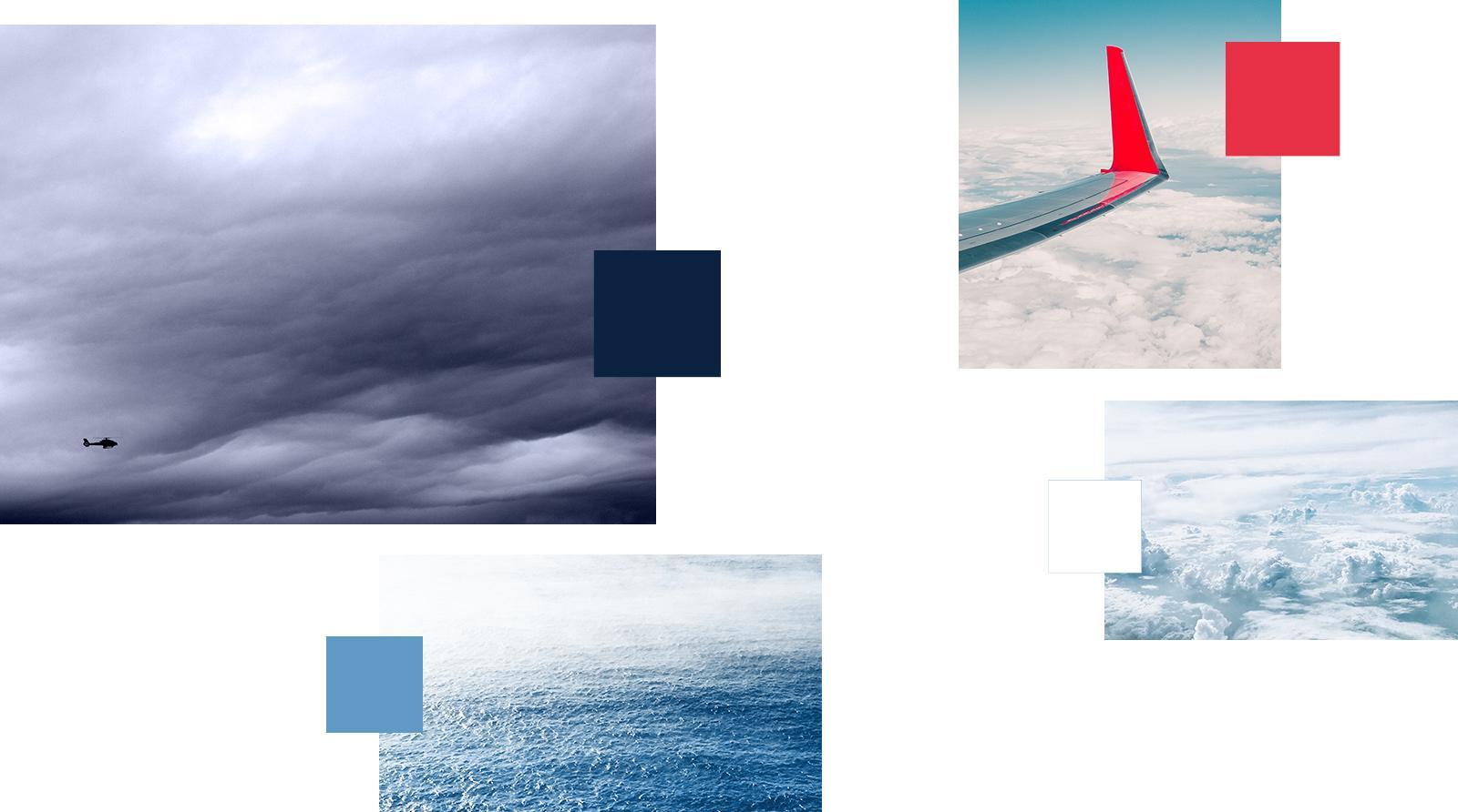 Farbwelt: Primärfarbe = Dunkelblau, Sekündarfarben = Hellblau und Weiß, Signalfarbe = Rot