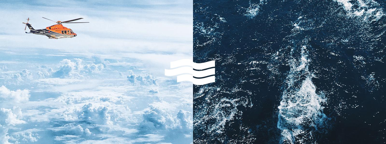 Logoherleitung, Wolken als Darstellung des Windes und Wellen für Wasser